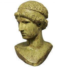 Life Size Glazed Stone Head of a Hellenistic Youth