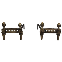 PAIR OF BRONZE AND IRON LOUIS THE 16TH ANDIRONS