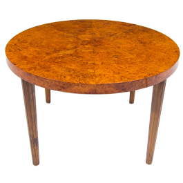 Burr Walnut Mid Century Coffee Table, Swedish 1940's