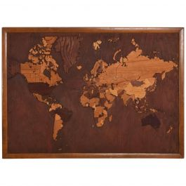 Vintage Antique Wood World Map Custom Carpentry Work