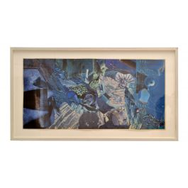Abstract Collage Art in tones of Blue by Bill Allan UK