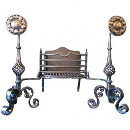 Arts and Crafts Wrought Iron Dog Grate