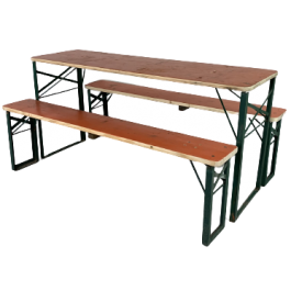 Vintage Shorter Length German Beer Table And Benches