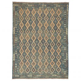 20th Century Swedish Kilim Rug with Geometric Design in Blue Brown and Beige