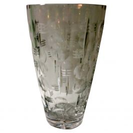 1930s Art Deco Cut Glass Vase