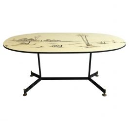 Mid-Century Modern French Dining Table with African Landscape Decorations, 1960s