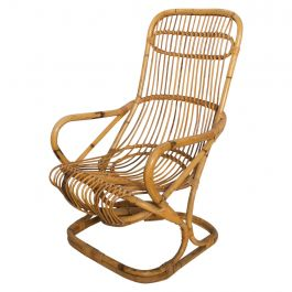 Mid-Century Modern by Tito Agnoli, Tall Wicker Lounge Chair, Italy