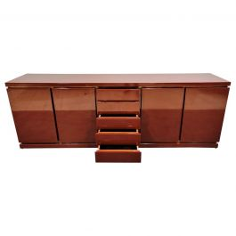 Red Lacquered Credenza by Jean Charles, 1970s