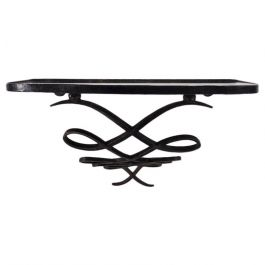 1940s René Prou Small Wrought Iron Mirrored Console