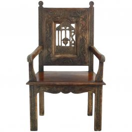 Arts and Crafts Throne Chair Carved Wood French Country House Provincial c1900