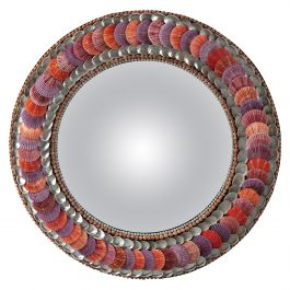 Red Shell Convex Mirror by Tess Morley