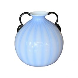 Blue Vase with Black Handles attributed to Fulvio Bianconi