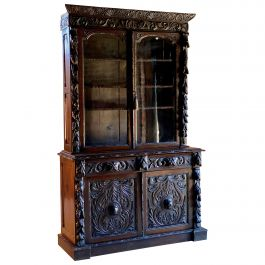 Antique Green Man Oak Bookcase Gothic Glazed Two Doors Victorian circa 1870