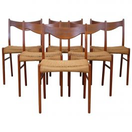 Set of Six Dining Chairs by Arne Wahl Iversen for Glyngøre Stolefabrik, Danish