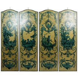 Set of Four Italian 19th Century Blue Grisailles