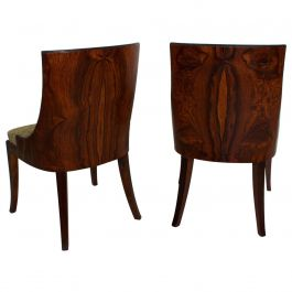 French Art Deco Pair of Barrel Back Tub Rosewood Side Chairs