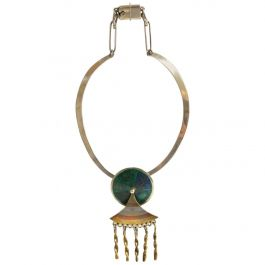 Mexican Modernist Necklace Married Metals Azurite and Malachite