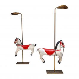 Pair of 1970s Naïve Carrousel Horse Floor Lamps