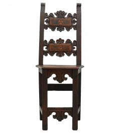 Renaissance Revival Chair Basque Hall Accent or Side Walnut, 19th Century