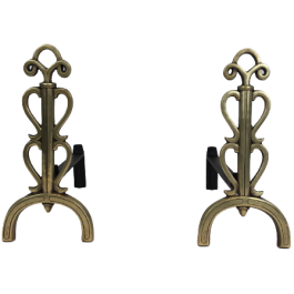 BRONZE AND IRON ANDIRONS. SIGNED. FRENCH