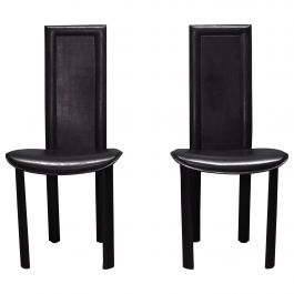 Pair of Black Leather Quia 'Elena B' Chairs, Italy, circa 1970-1980