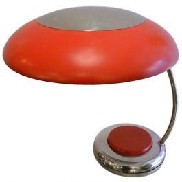 Red Metal Desk or Table Lamp