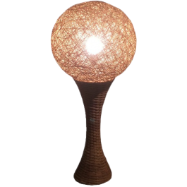 UNUSUAL TALL RATTAN LAMP. CIRCA 1970