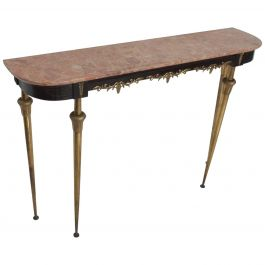 Italian Console Table with Bronze Legs and Rose Marble Top Hollywood Regency