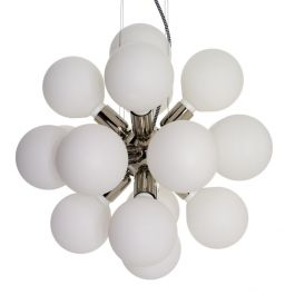 Brass chandelier with 18 white lamp globes