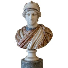 A late 18th century marble bust of the goddess Roma