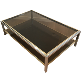 Large Chrome & Brass Coffee Table