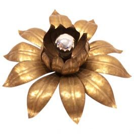 Sophisticated Hans Kögl Style Brass Flower Flushmount