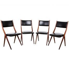 Italy Midcentury Set of 4 Fabulous Borsani Italian Dining Chairs, 1950s