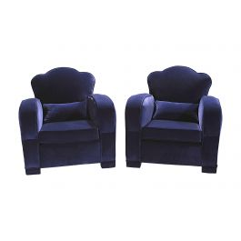 1940's Pair Of French Velvet Club Armchairs