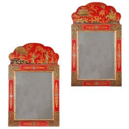 Pair of Scarlet Chinoiserie Mirrors
