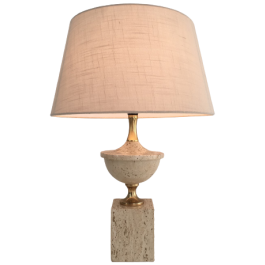 PHILIPPE BARBIER. TRAVERTINE AND GILT TABLE LAMP