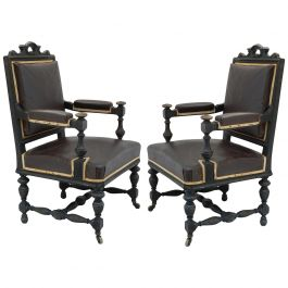 Pair 19th Century Conference Open Armchairs French includes recovering