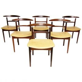 Six Danish Dining Chairs in Rosewood by Helge