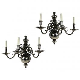 Pair of Large Flemish Silver Plated Wall Lights