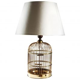 Edwardian English Brass Metal Birdcage as a Table Lamp, with Mahogany Neck