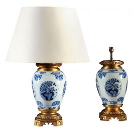 Pair of 19th Century Blue and White Vases as Table Lamps with Ormolu Mounts