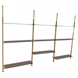 Brass & Glass Modular Shelving Unit from Belgo Chrom, 1970s