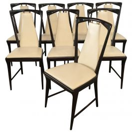 Mid-Century Modern Set of 8 Borsani Mahogany and Faux Leather Italian Chairs