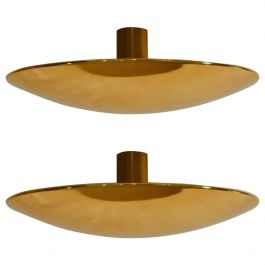 Pair of Large Brass Minimal Flush Mount Ceiling or Wall Lights by Florian Schulz