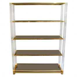 Shelving Display System in Lucite, Glass and Brass by Charles Hollis Jones