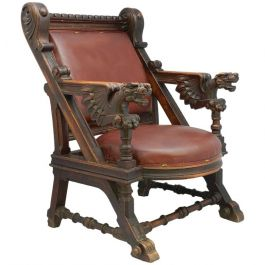 Ornate 19th Century Carved Dragon Throne Chair