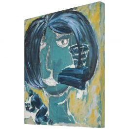 Modern Expressionism Woman Art Acrylic Painting on Wood, Pablo Romo