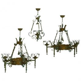 Three Wrought Iron and Copper Chandeliers Graduated French Spanish Basque C1900