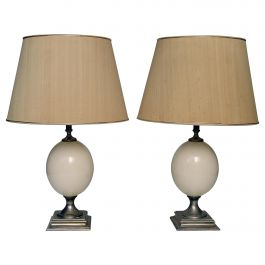 Pair of French Egg Table Lamps, 1970s