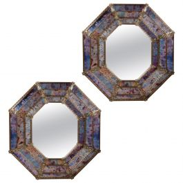 Fine Pair of Octagonal Murano Glass Mirrors of Large Scale, Italian 20th Century